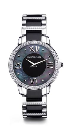 Jardin du Palais Royal timepiece by Mauboussin, stainless steel and white mother-of-pearl dial, quartz movement.