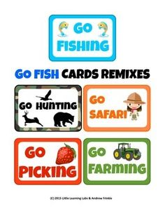 Get these 5 fun REMIXES of the classic card game GO FISH! Each version has 36 themed cards: 18 pairs of different cards. The Fruits one has an extra 9 pairs, too!Rules are included. Print 9 cards per page, laminating and in color if possible. Card stock or heavy paper is a plus!In this set, you get 5 GAMES!Farming (Veggies)Hunting (Forest Animals)Picking (Fruit)Safari (African Wild Animals)Fishing (Marine Creatures)