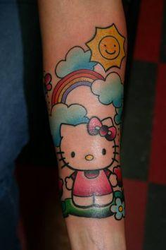 HH Tatt with fun colors Dream Tattoos, Body Art Tattoos, Sleeve Tattoos, Tattoo Now, Cat Tattoo, Hello Kitty Tattoos, Rainbow Tattoos, Chest Piece Tattoos, Best Friend Tattoos