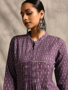 Purple Handloom Ikat Cotton Kurta with Pintucks Salwar Suit Neck Designs, Kurta Neck Design, Kurta Designs Women, Dress Neck Designs, Salwar Designs, Kurti Designs Party Wear, Blouse Designs, Indian Designer Suits, Indian Suits