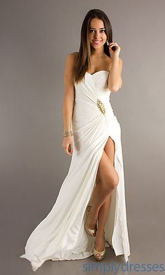 Long Prom Dress with Slit by Alyce Paris at SimplyDresses.com