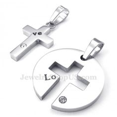 b92676317376 Titanium Silver Cross Couples Pendant Necklace (Free Chain)(One Pair)  Collares De