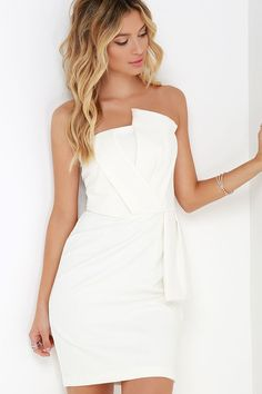 Sweet and Sassy Ivory Strapless Dress at Lulus.com!