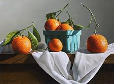 Oranges and Cloth by artist  Loren DiBenedetto. Still life #oilpainting found on the FASO Daily Art Show - http://dailyartshow.faso.com
