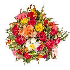 Buquê de rosas rosas e outras flores.