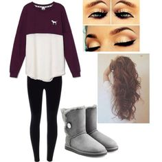 A fashion look from October 2015 featuring Victoria's Secret tops and UGG Australia boots. Browse and shop related looks.