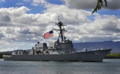 130214-N-WF272-012 PEARL HARBOR (Feb. 14, 2013) The Arleigh Burke-class guided-missile destroyer USS Halsey (DDG 97) arrives at Joint Base Pearl Harbor-Hickam after a hull swap with guided-missile destroyer USS Russell (DDG 59). Hull swaps, or ship rotations, are part of the Navy's long-term plan to routinely replace older ships with newer more capable ships. (U.S. Navy photo by Mass Communication Specialist 3rd Class Diana N. Quinlan/Released)