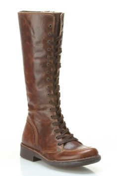 """Kickers Rocking Boots in light brown by Kickers $253 - $130 at BeyondTheRack. Zip closure at side. Lace up construction. Slight heel. Textured fabric. Cushioned insole. ApproxMeas: 2"""" Heel, 13"""" Shaft, 16"""" Circumference. Fit: True To Size. Leather Upper, Rubber Sole. Origin: Portugal."""