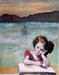 "A visual narratve..""I will find you""  mixed media vintage child  painting by MaudstarrArt  aka Heather Murray on Etsy"