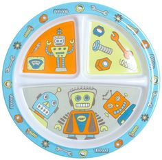 RETRO ROBOTS DIVIDED SUCTION PLATE Do you have a picky eater who does not want their veggies to touch their dessert. This divided suction plate will help them eat their meal without mixing the meats with the vegs. The melamine plate has 3 divided sections and a suction bottom to help keep your table clean. As they eat their meal they will find the cute Americana retro robots hiding! $12.00 #kids #plate #suctionplate #robots