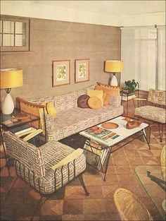 A stylishly decorated sun porch, 1953.