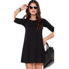 ↠3/4 Sleeve Dress↞ Black 3/4 sleeve dress. Sleeves may be slightly shorter than seen on model depending on height.  New in package.   No Trades, PayPal, lowballing. Bundle 2+ items & Save 10%. ✅Price firm unless bundled.  Free gift with purchase! Dresses Long Sleeve