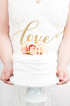 Gold wedding cake topper by Better Off Wed Custom Cake Toppers, Wedding Cake Toppers, Wedding Cakes, Wedding Bouquets, Wedding Dresses, Summer Wedding, Our Wedding, Dream Wedding, Wedding Blog