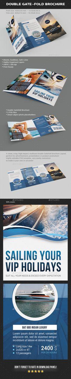 Yacht Sailing Double Gate-Fold Brochure - Brochures Print Templates