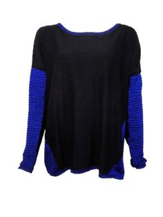 DKNY Black and Blue Ribbed Sweater