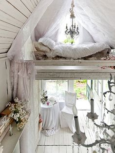 This Catskills cabin was transformed into a romantic, shabby-chic cottage by its owner, Sandra Foster.  USA