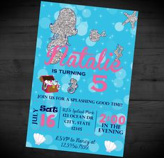 Mermaid Theme Birthday Invitation - Bue and Silver Mermaid Invite - Summer - Siren - Ocean - Printable or Printed - SHIPPING INCLUDED - 4x6