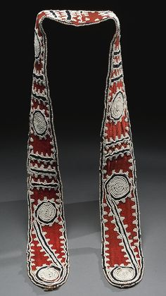 Southeastern Beaded Cloth Sash, probably Choctaw length 50 in. Native American Crafts, Native American Pottery, Native American Artifacts, American Indian Art, Native American Indians, Native Americans, Seminole Indians, Choctaw Indian, Native Indian
