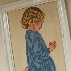 Vintage Framed Needlework Praying Child by lookonmytreasures on Etsy