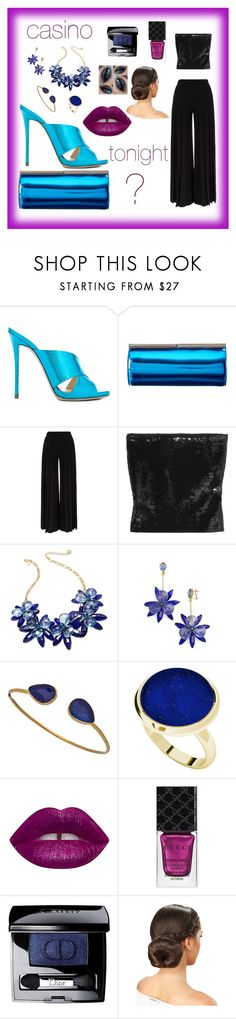 """""""#vegas"""" by christianmm75 ❤ liked on Polyvore featuring Giuseppe Zanotti, Jimmy Choo, Marco de Vincenzo, Yves Saint Laurent, Kate Spade, Janna Conner Designs, StyleRocks, Lime Crime, Gucci and Christian Dior"""