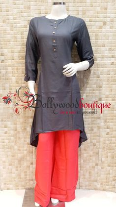 Designer Kurti 34 Fabric : Cotton Reyon. Color : Grey. Style : Designer Long Kurti. Product Details : Designer long kurti ideal for everyday use as well as small get together. Plain long kurti in tail cut style. Price : Rs: 480 / –