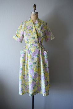 Swirl wrap dress . 1940s 1950s rose and butterfly by BlueFennel