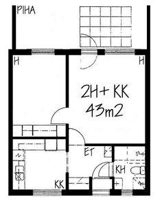 Tuhkanummenkuja, Mellunkylä, Helsinki, 2h+kk 43 m², SATO vuokra-asunto Helsinki, Floor Plans, Diagram, Floor Plan Drawing