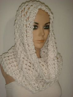 Hand Knitted Hooded Cowl/Scarf/Neck warmer (White) by Arzu's Style $29.90