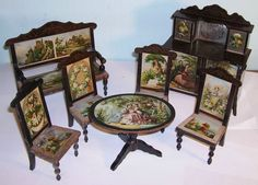 At $785.  antique dolls house furniture set sideboard table and chairs sofa German? | Dolls & Bears, Dollhouse Miniatures, Furniture & Room Items | eBay!