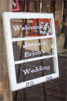 welcome wedding window..to bad the names are spelt wrong :)