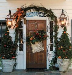 grapevine garland around front door - Google Search