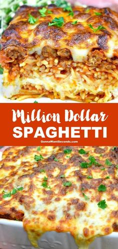 Million Dollar Spaghetti (Prep Time: 30 mins!) *NEW* Million Dollar Spaghetti brings the best of spaghetti to the best of lasagna and marries them together. Don't shy away from this crowd-pleasing casserole! Spaghetti Lasagna, Spaghetti Recipes, Pasta Recipes, Beef Recipes, Dinner Recipes, Cooking Recipes, Best Spaghetti Recipe, Leftover Spaghetti Casserole Recipe, Risotto Recipes