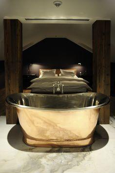 The Emblem hotel, Prague. One of the most luxurious hotels in Prague. Prague Hotels, Metal Tub, Hotel Concept, Most Luxurious Hotels, Take That, Bathroom Design Luxury, Luxury Accommodation, Hotel Suites, Luxury Apartments