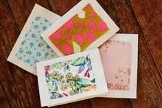 """These would be beautiful and totally reminded me of you! Make your own stationery set! Use fabric scraps sewn onto plain white cards that have been """"died"""" in coffee. Diy Stationery Set, Handmade Stationary, Stationary Set, Stationery Paper, Personalized Stationery, Diy Paper, Paper Crafting, Diy Cards, Your Cards"""