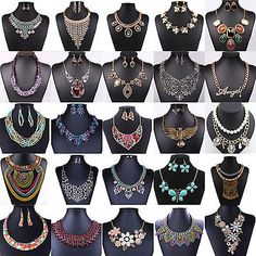 Fashion-Women-Jewelry-Pendant-Chain-Crystal-Choker-Chunky-Statement-Bib-Necklace