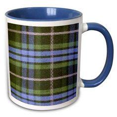 Blue and Green tartan pattern with black and grey gray - plaid checks checkered Scottish Scotland - Two Tone Blue Mug, Size: 11 fl oz Dish Storage, Tartan Pattern, Black And Grey, Gray, Scotland, Coffee Mugs, Plaid, Ceramics, Prints