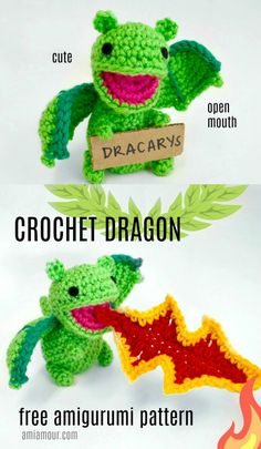 Dragon Amigurumi Pattern - FREE - Ami Amour Crochet a cute Dragon amigurumi who breathes fire with this FREE pattern! Part of my Open Mouth Amigurumi series! Crochet Gratis, Crochet Amigurumi Free Patterns, Cute Crochet, Crochet Dolls, Easy Crochet, Amigurumi Animals, Amigurumi Doll, Crochet Animals, Crochet Dragon Pattern