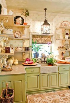 French Country kitchen ~ Love the shelf brackets & white farm sink!
