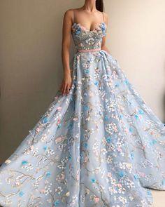 aca48f90d34 2018 Spaghetti Strap Flower Applique Sky Blue Prom Sky Blue Dresses