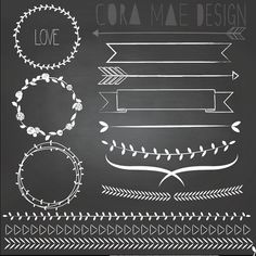 """13 Laurels & borders clipart files and 1 12x12"""" chalkboard background. Instant PNG files. 300 DPI. Buy 2 get 1 Free!"""