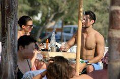 David Gandy and Stephanie holiday in Greece.    Aug.2016