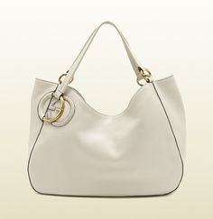 twill off-white leather shoulder bag