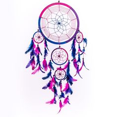 "Amazon.com: Dream Catcher ~ Handmade Traditional Royal Blue, Pink & Purple 8.5"" Diameter 24"" Long!: Home & Kitchen"