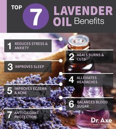 Lavender oil benefits your body in the following ways: Reduces anxiety and emotional stress, Heals burns and wounds, Improves sleep, Restores skin complexion and reduces acne, Slows aging with powerful, antioxidants, Improves eczema and psoriasis, Alleviates headaches. Shared with