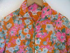 M 70's Floral DAISY Rain Coat Windbreaker Jacket by DaizyLemonade, $38.50
