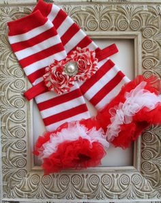 Christmas Leg Warmers Christmas Headband Candy Cane Set. Baby Leg Warmers. Baby Headband. Shabbby Chic Headband. Leg Warmers.