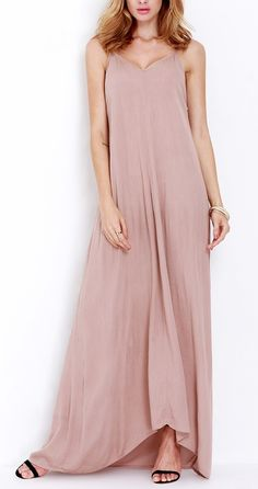 Let that girl in you shine through in this cute pink spaghetti strap maxi dress.