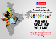 "Au Financiers Changing Lives of India & Embracing Diversity in 10 States with 3 Lac+ Customers. ""We Are Because You Are"" Celebrating World Day for Cultural Diversity for Dialogue and Development ‪#‎AuFinanciers‬ ‪#‎21stMay‬"
