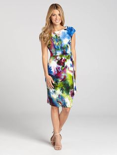 Laura Petites | Brazilian Rain Forest Print Jersey Dress - Blue Pattern