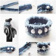 Your favorite jeans have had their day and you do not want to apart with them? With these original and simple jeans upcycling ideas, you can awaken your denim to a new life. Diy Denim Bracelets, Fabric Bracelets, Unique Bracelets, Fabric Jewelry, Beaded Bracelets, Diy Jeans, Jean Crafts, Denim Crafts, Denim Armband